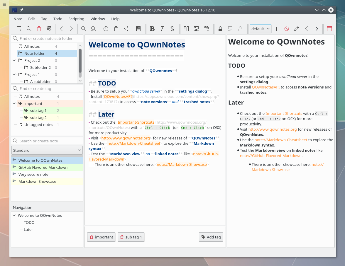 QOwnNotes screenshot